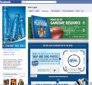 Bud Light Facebook HOME page