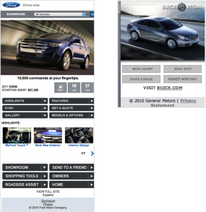 Ford Edge Mobile Site, Buick Regal Mobile Site