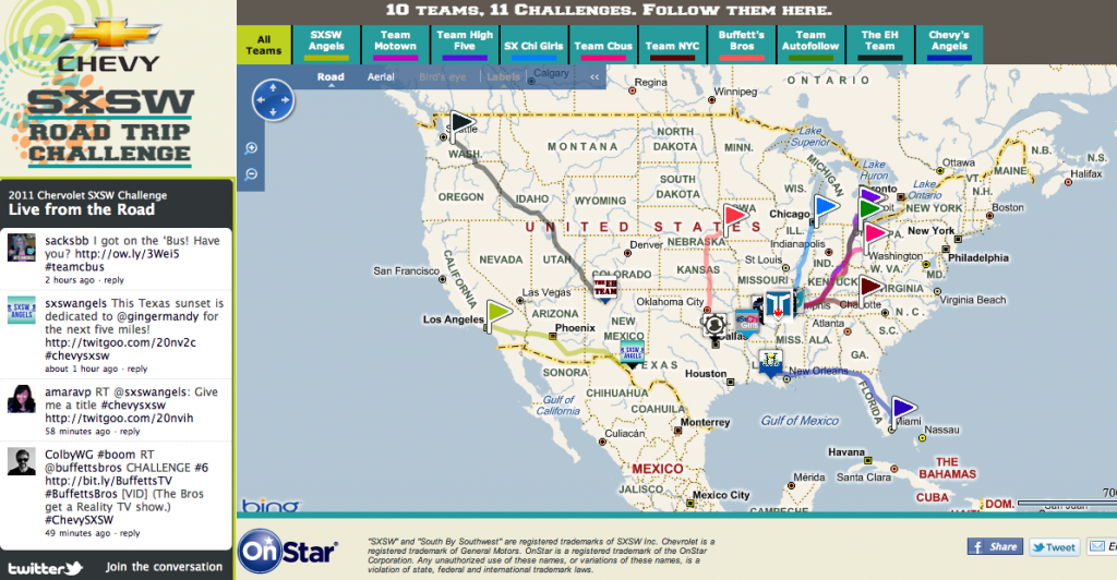 Chevy SXSW Road Trip Tracker