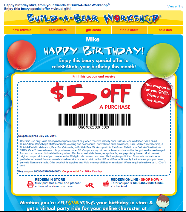 Build-A-Bear Birthday Email