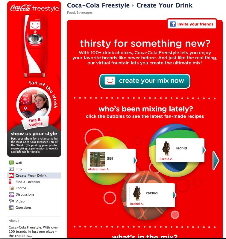 Coke's Freestyle Facebook Application